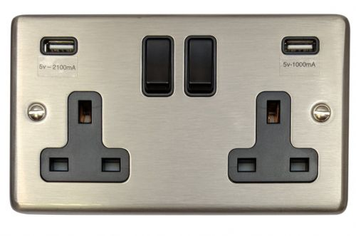 G&H CSS910B Standard Plate Brushed Steel 2 Gang Double 13A Switched Plug Socket 2.1A USB